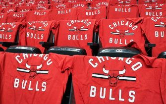 CHICAGO, IL - APRIL 12:  A detail view of t-shirts on the seats before the game between the Chicago Bulls and the Brooklyn Nets at United Center on April 12, 2017 in Chicago, Illinois. NOTE TO USER: User expressly acknowledges and agrees that, by downloading and or using this photograph, User is consenting to the terms and conditions of the Getty Images License Agreement. (Photo by Dylan Buell/Getty Images) *** Local Caption ***