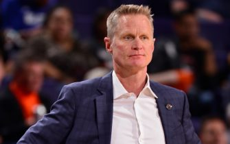 PHOENIX, AZ - FEBRUARY 29: Steve Kerr of the Golden State Warriors looks on during the game against the Phoenix Suns on February 29, 2020 at Talking Stick Resort Arena in Phoenix, Arizona. NOTE TO USER: User expressly acknowledges and agrees that, by downloading and or using this photograph, user is consenting to the terms and conditions of the Getty Images License Agreement. Mandatory Copyright Notice: Copyright 2020 NBAE (Photo by Barry Gossage/NBAE via Getty Images)