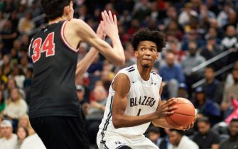 MINNEAPOLIS, MINNESOTA - JANUARY 04: Ziaire Williams #1 of Sierra Canyon Trailblazers shoots the ball against Chet Holmgren #34 of Minnehaha Academy Red Hawks during the game at Target Center on January 04, 2020 in Minneapolis, Minnesota. (Photo by Hannah Foslien/Getty Images)