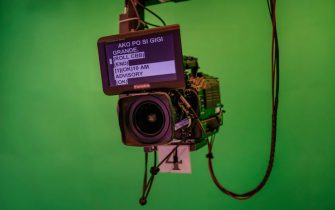 """QUEZON, PHILIPPINES - FEBRUARY 11: A camera is seen at the set for """"TV Patrol"""", ABS-CBN's flagship news program, on February 11, 2020 in Quezon City, Metro Manila, Philippines. The Philippine government on Monday moved to shut down the country's leading broadcast network, ABS-CBN Corp., over alleged constitutional violations, in what is seen by critics as the latest push by President Rodrigo Duterte against media outlets that have been critical of his leadership. (Photo by Ezra Acayan/Getty Images)"""