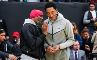 CHATSWORTH, CALIFORNIA - JANUARY 04: Cuttino Mobley (L) and Scottie Pippen (R) attend the Sierra Canyon vs Mayfair game on January 04, 2019 in Chatsworth, California. (Photo by Cassy Athena/Getty Images)