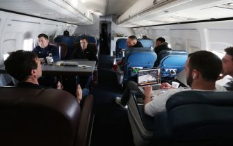 SALT LAKE CITY, UT - MARCH 05: The Utah Jazz head coaching staff go over game details on the charter plane on the flight to go play the New Orleans Pelicans on March 05, 2019 in Salt Lake City, Utah. NOTE TO USER: User expressly acknowledges and agrees that, by downloading and or using this Photograph, User is consenting to the terms and conditions of the Getty Images License Agreement. Mandatory Copyright Notice: Copyright 2019 NBAE (Photo by Melissa Majchrzak/NBAE via Getty Images)