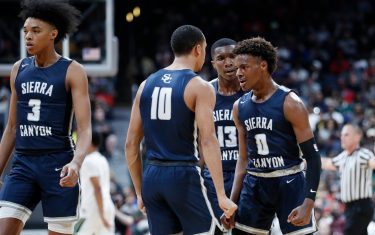 COLUMBUS, OH - DECEMBER 14: LeBron 'Bronny' James Jr. #0 of Sierra Canyon High School celebrates with teammates during the Ohio Scholastic Play-By-Play Classic against St. Vincent-St. Mary High School at Nationwide Arena on December 14, 2019 in Columbus, Ohio. (Photo by Joe Robbins/Getty Images)