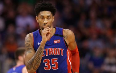 PHOENIX, ARIZONA - FEBRUARY 28: Christian Wood #35 of the Detroit Pistons reacts to a three point shot against the Phoenix Suns during the second half of the NBA game at Talking Stick Resort Arena on February 28, 2020 in Phoenix, Arizona. The Pistons defeated the Suns 113-111. NOTE TO USER: User expressly acknowledges and agrees that, by downloading and or using this photograph, user is consenting to the terms and conditions of the Getty Images License Agreement. Mandatory Copyright Notice: Copyright 2020 NBAE. (Photo by Christian Petersen/Getty Images)