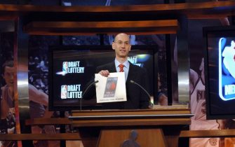 SECAUCUS, NJ - MAY 22: Deputy Commissioner of the NBA Adam Silver holds the card for the Portland Trail Blazers who are awarded the number one overall pick during the 2007 NBA Draft Lottery on May 22, 2007 at the NBATV Studios in Secaucus, New Jersey.  NOTE TO USER: User expressly acknowledges and agrees that, by downloading and/or using this Photograph, user is consenting to the terms and conditions of the Getty Images License Agreement. Mandatory Copyright Notice: Copyright 2007 NBAE (Photo by Jennifer Pottheiser/NBAE via Getty Images)