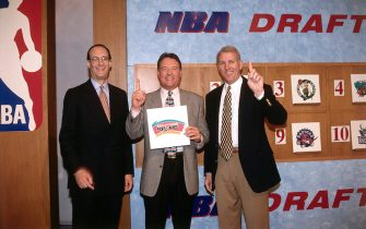 SECAUCUS, NJ - MAY 17:  (L-R)  NBA Deputy Commissioner Russ Granik, Peter Holt and Gregg Popovich of the San Antonio Spurs pose for a picture after the Spurs received the No. 1 pick in the 1997 NBA Draft by winning the draft lottery on May 17, 1997 in Secaucus, New Jersey.  NOTE TO USER: User expressly acknowledges and agrees that, by downloading and/or using this Photograph, User is consenting to the terms and conditions of the Getty Images License Agreement.  Mandatory Copyright Notice:  Copyright 1997 NBAE.  (Photo by Steve Freeman/NBAE via Getty Images)