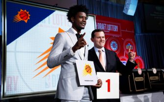 CHICAGO - MAY 15:  Josh Jackson #20 of the Phoenix Suns and General Manager of the Phoenix Suns, Ryan McDonough pose for a photo after getting the number one pick in the 2018 NBA Draft during the 2018 NBA Draft Lottery at the Palmer House Hotel on May 15, 2018 in Chicago Illinois. NOTE TO USER: User expressly acknowledges and agrees that, by downloading and/or using this photograph, user is consenting to the terms and conditions of the Getty Images License Agreement. Mandatory Copyright Notice: Copyright 2018 NBAE (Photo by Jeff Haynes/NBAE via Getty Images)