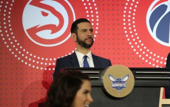 CHICAGO, IL - MAY 14: James Borrego of the Charlotte Hornets sits on stage during the 2019 NBA Draft Lottery on May 14, 2019 at the Chicago Hilton in Chicago, Illinois. NOTE TO USER: User expressly acknowledges and agrees that, by downloading and/or using this photograph, user is consenting to the terms and conditions of the Getty Images License Agreement. Mandatory Copyright Notice: Copyright 2019 NBAE (Photo by Gary Dineen/NBAE via Getty Images)