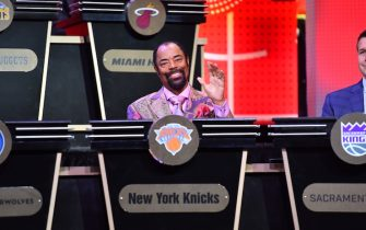 NEW YORK, NY - MAY 16:   Walt Clyde Frazier represents the New York Knicks during the 2017 NBA Draft Lottery at the New York Hilton in New York, New York. NOTE TO USER: User expressly acknowledges and agrees that, by downloading and or using this Photograph, user is consenting to the terms and conditions of the Getty Images License Agreement.  Mandatory Copyright Notice: Copyright 2017 NBAE (Photo by Jesse D. Garrabrant/NBAE via Getty Images)