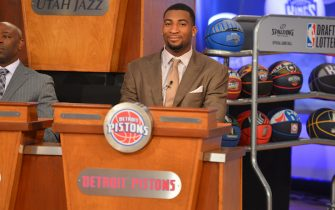 """NEW YORK, NY - MAY 21: Andre Drummond of the Detroit Pistons during the 2013 NBA Draft Lottery on May 21, 2013 at the ABC News' """"Good Morning America"""" Times Square Studio in New York City. NOTE TO USER: User expressly acknowledges and agrees that, by downloading and/or using this photograph, user is consenting to the terms and conditions of the Getty Images License Agreement.  Mandatory Copyright Notice: Copyright 2013 NBAE (Photo by Jesse D. Garrabrant/NBAE via Getty Images)"""