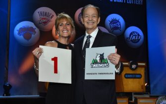 NEW YORK - MAY 19: Owner Glen Taylor and his wife Becky of the Minnesota Timberwolves poses for a photo with the draft card after winning the 2015 NBA Draft Lottery on May 19, 2015 at the New York Hilton Midtown in New York City.  NOTE TO USER: User expressly acknowledges and agrees that, by downloading and/or using this photograph, user is consenting to the terms and conditions of the Getty Images License Agreement. Mandatory Copyright Notice: Copyright 2015 NBAE (Photo by Jesse D. Garrabrant/NBAE via Getty Images)