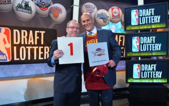 NEW YORK - MAY 20: General Manager David Griffin and Jeff Cohen, Chairman of the Cleveland Cavaliers celebrates winning the 2014 NBA Draft Lottery on May 20, 2014 at the ABC News' 'Good Morning America' Times Square Studio in New York City.  NOTE TO USER: User expressly acknowledges and agrees that, by downloading and/or using this photograph, user is consenting to the terms and conditions of the Getty Images License Agreement. Mandatory Copyright Notice: Copyright 2014 NBAE (Photo by Jesse D. Garrabrant/NBAE via Getty Images)
