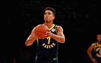 MUMBAI, INDIA - OCTOBER 4: Malcolm Brogdon #7 of the Indiana Pacers shoots a free throw against the Sacramento Kings on October 4, 2019 at NSCI Dome in Mumbai, India. NOTE TO USER: User expressly acknowledges and agrees that, by downloading and or using this photograph, User is consenting to the terms and conditions of the Getty Images License Agreement. Mandatory Copyright Notice: Copyright 2019 NBAE (Photo by Jeff Haynes/NBAE via Getty Images)