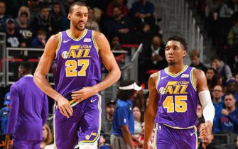 DETROIT, MI - JANUARY 5: Rudy Gobert #27 of the Utah Jazz and Donovan Mitchell #45 of the Utah Jazz seen on court during the game against the Detroit Pistons on January 5, 2019 at Little Caesars Arena in Detroit, Michigan. NOTE TO USER: User expressly acknowledges and agrees that, by downloading and/or using this photograph, User is consenting to the terms and conditions of the Getty Images License Agreement. Mandatory Copyright Notice: Copyright 2019 NBAE (Photo by Chris Schwegler/NBAE via Getty Images)