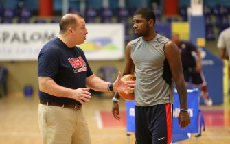 EL TABLERO, GRAN CANARIA, SPAIN - AUGUST 24: Assistant coach Tom Thibodeau of the USA Basketball Men's National Team chats with Kyrie Irving #10 during practice on August 24, 2014 at Pabellon de El Tablero Practice Facility in El Tablero, Gran Canaria, Spain. NOTE TO USER: User expressly acknowledges and agrees that, by downloading and or using this photograph, user is consenting to the terms and conditions of the Getty Images License Agreement. Mandatory Copyright Notice: Copyright 2014 NBAE (Photo by Joe Murphy/NBAE via Getty Images)
