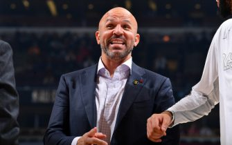CHICAGO, IL - FEBRUARY 16: Assistant Coach, Jason Kidd smiles during the 69th NBA All-Star Game on February 16, 2020 at the United Center in Chicago, Illinois. NOTE TO USER: User expressly acknowledges and agrees that, by downloading and or using this photograph, User is consenting to the terms and conditions of the Getty Images License Agreement. Mandatory Copyright Notice: Copyright 2020 NBAE (Photo by Jesse D. Garrabrant/NBAE via Getty Images)