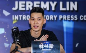 Former NBA player Jeremy Lin of the US attends an introductory press conference held by his new team Beijing Shougang in Beijing on September 26, 2019. (Photo by STR / AFP) / China OUT        (Photo credit should read STR/AFP via Getty Images)