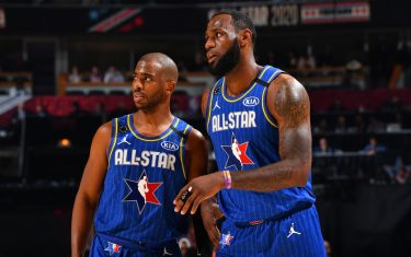 CHICAGO, IL - FEBRUARY 16: Chris Paul #2 and LeBron James #2 of Team LeBron look on during the 69th NBA All-Star Game on February 16, 2020 at the United Center in Chicago, Illinois. NOTE TO USER: User expressly acknowledges and agrees that, by downloading and or using this photograph, User is consenting to the terms and conditions of the Getty Images License Agreement. Mandatory Copyright Notice: Copyright 2020 NBAE (Photo by Jesse D. Garrabrant/NBAE via Getty Images)