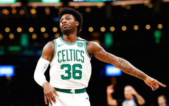 BOSTON, MASSACHUSETTS - MARCH 06: Marcus Smart #36 of the Boston Celtics reacts during the first quarter of the game against the Utah Jazz at TD Garden on March 06, 2020 in Boston, Massachusetts. NOTE TO USER: User expressly acknowledges and agrees that, by downloading and or using this photograph, User is consenting to the terms and conditions of the Getty Images License Agreement. (Photo by Omar Rawlings/Getty Images)