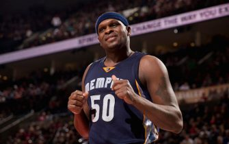PORTLAND, OR - JANUARY 27: Zach Randolph #50 of the Memphis Grizzlies reacts to a play against the Portland Trail Blazers on January 27, 2017 at the Moda Center in Portland, Oregon. NOTE TO USER: User expressly acknowledges and agrees that, by downloading and or using this Photograph, user is consenting to the terms and conditions of the Getty Images License Agreement. Mandatory Copyright Notice: Copyright 2017 NBAE (Photo by Cameron Browne/NBAE via Getty Images)