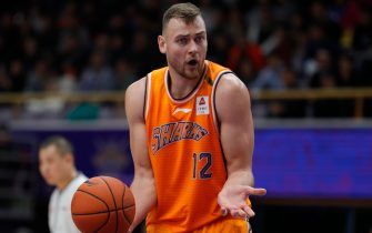 BEIJING, CHINA - NOVEMBER 05: Donatas Motiejunas #12 of the Shanghai Sharks in action during 2019/2020 CBA League - Beijing Begcl v Shanghai Sharks at National Olympic Sports Center on November 5, 2019 in Beijing, China. (Photo by Fred Lee/Getty Images)