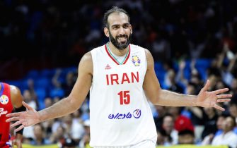 GUANGZHOU, CHINA - AUGUST 31: #15 Hamed Haddadi of Iran celebrates a point during the 2019 FIBA World Cup, first round match between Iran and Puerto Rico at Guangzhou Gymnasium on August 31, 2019 in Guangzhou, China. (Photo by Zhizhao Wu/Getty Images)