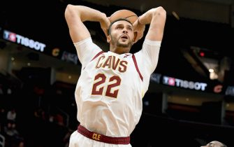 CLEVELAND, OHIO - OCTOBER 07:  Larry Nance Jr. #22 of the Cleveland Cavaliers dunks during the first half of a preseason game against San Lorenzo De Almagro at Rocket Mortgage Fieldhouse on October 07, 2019 in Cleveland, Ohio. NOTE TO USER: User expressly acknowledges and agrees that, by downloading and/or using this photograph, user is consenting to the terms and conditions of the Getty Images License Agreement. (Photo by Jason Miller/Getty Images)