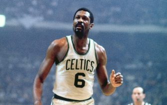 BOSTON - 1968:  Bill Russell #6 of the Boston Celtics looks on during a game played in 1968 at the Boston Garden in Boston, Massachusetts. NOTE TO USER: User expressly acknowledges and agrees that, by downloading and or using this photograph, User is consenting to the terms and conditions of the Getty Images License Agreement. Mandatory Copyright Notice: Copyright 1968 NBAE (Photo by Dick Raphael/NBAE via Getty Images)