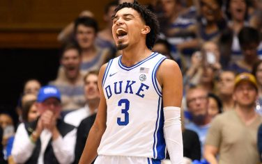 DURHAM, NORTH CAROLINA - MARCH 07: Tre Jones #3 of the Duke Blue Devils reacts during the second half of their game against the North Carolina Tar Heels at Cameron Indoor Stadium on March 07, 2020 in Durham, North Carolina. Duke won 89-76. (Photo by Grant Halverson/Getty Images)