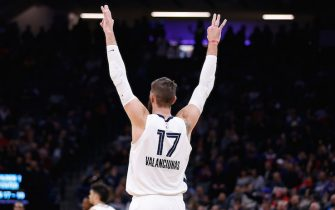 SACRAMENTO, CALIFORNIA - JANUARY 02: Jonas Valanciunas #17 of the Memphis Grizzlies celebrates after a three-point basket by a teammate in the second half against the Sacramento Kings at Golden 1 Center on January 02, 2020 in Sacramento, California. NOTE TO USER: User expressly acknowledges and agrees that, by downloading and/or using this photograph, user is consenting to the terms and conditions of the Getty Images License Agreement. (Photo by Lachlan Cunningham/Getty Images)