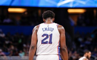 ORLANDO, FL - MARCH 25: A backview of Joel Embiid #21 of the Philadelphia 76ers during the game against the Orlando Magic at the Amway Center on March 25, 2019 in Orlando, Florida. The Magic defeated the 76ers 119 to 98. NOTE TO USER: User expressly acknowledges and agrees that, by downloading and or using this photograph, User is consenting to the terms and conditions of the Getty Images License Agreement. (Photo by Don Juan Moore/Getty Images) *** Local Caption *** Joel Embiid