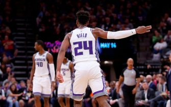 SACRAMENTO, CA - MARCH 23: Buddy Hield #24 of the Sacramento Kings celebrates a three-point basket against the Phoenix Suns at Golden 1 Center on March 23, 2019 in Sacramento, California. NOTE TO USER: User expressly acknowledges and agrees that, by downloading and or using this photograph, User is consenting to the terms and conditions of the Getty Images License Agreement. (Photo by Lachlan Cunningham/Getty Images)
