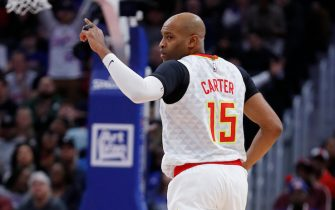 DETROIT, MI - NOVEMBER 22: Vince Carter #15 of the Atlanta Hawks celebrates during the first half against the Detroit Pistons at Little Caesars Arena on November 22, 2019 in Detroit, Michigan. Detroit defeated Atlanta 128-103. NOTE TO USER: User expressly acknowledges and agrees that, by downloading and or using this photograph, User is consenting to the terms and conditions of the Getty Images License Agreement (Photo by Rick Osentoski/Getty Images)