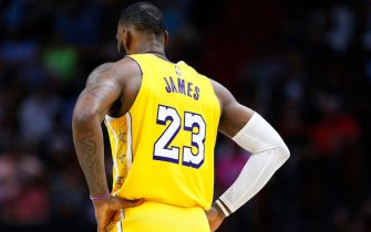 MIAMI, FLORIDA - DECEMBER 13:  LeBron James #23 of the Los Angeles Lakers reacts against the Miami Heat during the second half at American Airlines Arena on December 13, 2019 in Miami, Florida. NOTE TO USER: User expressly acknowledges and agrees that, by downloading and/or using this photograph, user is consenting to the terms and conditions of the Getty Images License Agreement (Photo by Michael Reaves/Getty Images)