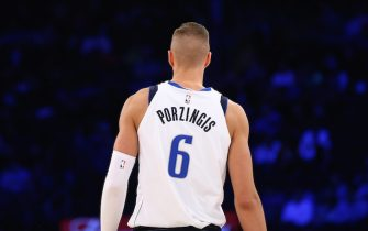 NEW YORK, NEW YORK - NOVEMBER 14:  Kristaps Porzingis #6 of the Dallas Mavericks in action against the New York Knicks at Madison Square Garden on November 14, 2019 in New York City. New York Knicks defeated the Dallas Mavericks 106-103. NOTE TO USER: User expressly acknowledges and agrees that, by downloading and or using this photograph, User is consenting to the terms and conditions of the Getty Images License Agreement. (Photo by Mike Stobe/Getty Images)