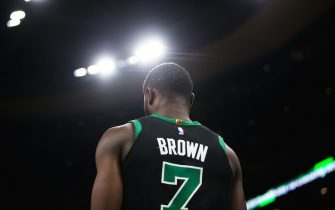 BOSTON, MA - FEBRUARY 1: Jaylen Brown #7 of the Boston Celtics during the game against the Philadelphia 76ers in the second half at TD Garden on February 1, 2020 in Boston, Massachusetts. NOTE TO USER: User expressly acknowledges and agrees that, by downloading and or using this photograph, User is consenting to the terms and conditions of the Getty Images License Agreement. (Photo by Kathryn Riley/Getty Images)