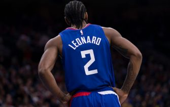 PHILADELPHIA, PA - FEBRUARY 11: Kawhi Leonard #2 of the Los Angeles Clippers looks on against the Philadelphia 76ers at the Wells Fargo Center on February 11, 2020 in Philadelphia, Pennsylvania. The 76ers defeated the Clippers 110-103. NOTE TO USER: User expressly acknowledges and agrees that, by downloading and/or using this photograph, user is consenting to the terms and conditions of the Getty Images License Agreement. (Photo by Mitchell Leff/Getty Images)