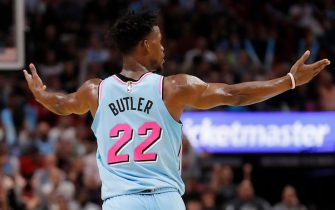 MIAMI, FLORIDA - FEBRUARY 03:  Jimmy Butler #22 of the Miami Heat reacts against the Philadelphia 76ers during the second half at American Airlines Arena on February 03, 2020 in Miami, Florida. NOTE TO USER: User expressly acknowledges and agrees that, by downloading and/or using this photograph, user is consenting to the terms and conditions of the Getty Images License Agreement.  (Photo by Michael Reaves/Getty Images)