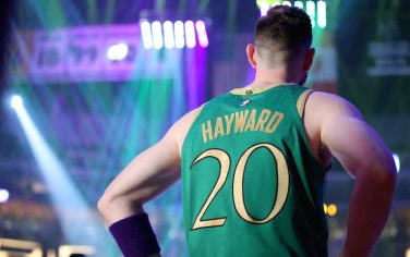 LOS ANGELES, CALIFORNIA - FEBRUARY 23: Gordon Hayward #20 of the Boston Celtics stands on the court before the game against the Los Angeles Lakers at Staples Center on February 23, 2020 in Los Angeles, California. (Photo by Katelyn Mulcahy/Getty Images)