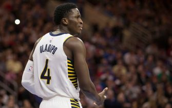 PHILADELPHIA, PA - NOVEMBER 3: Victor Oladipo #4 of the Indiana Pacers looks on against the Philadelphia 76ers at the Wells Fargo Center on November 3, 2017 in Philadelphia, Pennsylvania. NOTE TO USER: User expressly acknowledges and agrees that, by downloading and or using this photograph, User is consenting to the terms and conditions of the Getty Images License Agreement. (Photo by Mitchell Leff/Getty Images)