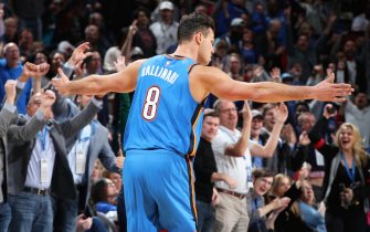 OKLAHOMA CITY, OK- NOVEMBER 15: Danilo Gallinari #8 of the Oklahoma City Thunder reacts to a made shot during a game against the Philadelphia 76ers on November 15, 2019 at Chesapeake Energy Arena in Oklahoma City, Oklahoma. NOTE TO USER: User expressly acknowledges and agrees that, by downloading and or using this photograph, User is consenting to the terms and conditions of the Getty Images License Agreement. Mandatory Copyright Notice: Copyright 2019 NBAE (Photo by Zach Beeker/NBAE via Getty Images)