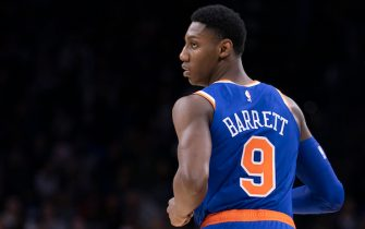 PHILADELPHIA, PA - FEBRUARY 27: RJ Barrett #9 of the New York Knicks looks on against the Philadelphia 76ers in the second quarter at the Wells Fargo Center on February 27, 2020 in Philadelphia, Pennsylvania. NOTE TO USER: User expressly acknowledges and agrees that, by downloading and/or using this photograph, user is consenting to the terms and conditions of the Getty Images License Agreement. (Photo by Mitchell Leff/Getty Images)