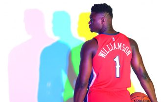 MADISON, NJ - AUGUST 11: Zion Williamson #1 of the New Orleans Pelicans poses for a portrait during the 2019 NBA Rookie Photo Shoot on August 11, 2019 at the Fairleigh Dickinson University in Madison, New Jersey. NOTE TO USER: User expressly acknowledges and agrees that, by downloading and or using this photograph, User is consenting to the terms and conditions of the Getty Images License Agreement. Mandatory Copyright Notice: Copyright 2019 NBAE (Photo by Brian Babineau/NBAE via Getty Images)