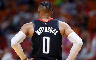 MIAMI, FLORIDA - OCTOBER 18:  Russell Westbrook #0 of the Houston Rockets looks on against the Miami Heat during the second half at American Airlines Arena on October 18, 2019 in Miami, Florida. NOTE TO USER: User expressly acknowledges and agrees that, by downloading and or using this photograph, User is consenting to the terms and conditions of the Getty Images License Agreement. (Photo by Michael Reaves/Getty Images)