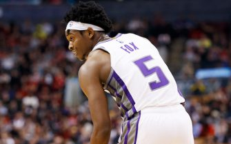 TORONTO, ON - NOVEMBER 06: De'Aaron Fox #5 of the Sacramento Kings is seen during second half of their NBA game against the Toronto Raptors at Scotiabank Arena on November 6, 2019 in Toronto, Canada. NOTE TO USER: User expressly acknowledges and agrees that, by downloading and or using this photograph, User is consenting to the terms and conditions of the Getty Images License Agreement. (Photo by Cole Burston/Getty Images)