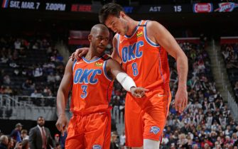DETROIT, MI - MARCH 4: Chris Paul #3 of the Oklahoma City Thunder and Danilo Gallinari #8 of the Oklahoma City Thunder talk during the game against the Detroit Pistons on March 4, 2020 at Little Caesars Arena in Detroit, Michigan. NOTE TO USER: User expressly acknowledges and agrees that, by downloading and/or using this photograph, User is consenting to the terms and conditions of the Getty Images License Agreement. Mandatory Copyright Notice: Copyright 2020 NBAE (Photo by Brian Sevald/NBAE via Getty Images)