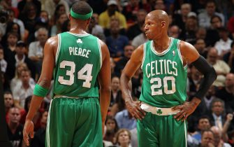 MIAMI - NOVEMBER 11: Ray Allen #20 of the Boston Celtics talks with teammate Paul Pierce #34 during a game against the  Miami Heat on November 11, 2010 at the American Airlines Arena in Miami, Florida.  NOTE TO USER: User expressly acknowledges and agrees that, by downloading and or using this photograph, User is consenting to the terms and conditions of the Getty Images License Agreement. Mandatory Copyright Notice: Copyright 2010 NBAE  (Photo by Nathaniel S. Butler/NBAE via Getty Images)