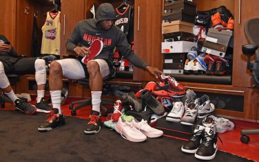 HOUSTON, TX - APRIL 29:  PJ Tucker #4 of the Houston Rockets puts on his sneakers by his locker before Game One of the Western Conference Semifinals against the Utah Jazz during the 2018 NBA Playoffs on April 29, 2018 at the Toyota Center in Houston, Texas. NOTE TO USER: User expressly acknowledges and agrees that, by downloading and/or using this photograph, user is consenting to the terms and conditions of the Getty Images License Agreement. Mandatory Copyright Notice: Copyright 2018 NBAE (Photo by Bill Baptist/NBAE via Getty Images)