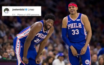 PHILADELPHIA, PA - APRIL 23: Joel Embiid #21 and Tobias Harris #33 of the Philadelphia 76ers share a laugh against the Brooklyn Nets in the second quarter of Game Five of Round One of the 2019 NBA Playoffs at the Wells Fargo Center on April 23, 2019 in Philadelphia, Pennsylvania. NOTE TO USER: User expressly acknowledges and agrees that, by downloading and or using this photograph, User is consenting to the terms and conditions of the Getty Images License Agreement. (Photo by Mitchell Leff/Getty Images)