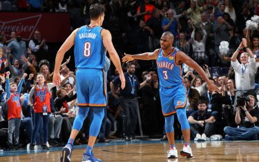 OKLAHOMA CITY, OK- NOVEMBER 15: Chris Paul #3 of the Oklahoma City Thunder and Danilo Gallinari #8 of the Oklahoma City Thunder celebrate after a play during a game against the Philadelphia 76ers on November 15, 2019 at Chesapeake Energy Arena in Oklahoma City, Oklahoma. NOTE TO USER: User expressly acknowledges and agrees that, by downloading and or using this photograph, User is consenting to the terms and conditions of the Getty Images License Agreement. Mandatory Copyright Notice: Copyright 2019 NBAE (Photo by Zach Beeker/NBAE via Getty Images)